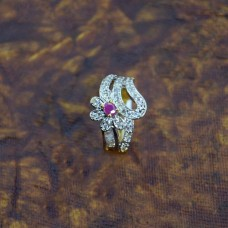 American Diamond Ring With Pink Stone