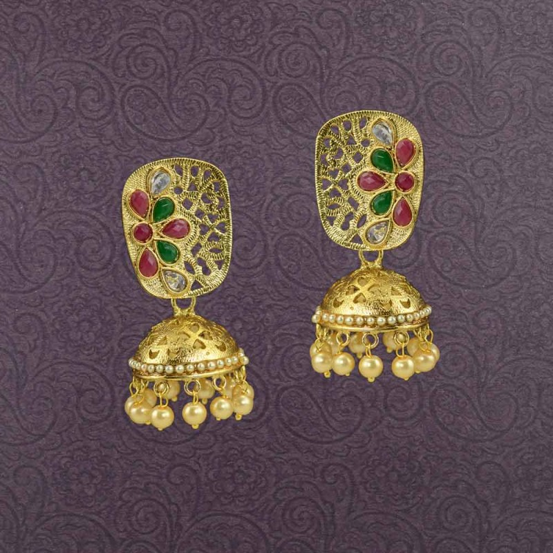 Gold Plated Jhumki With Multicolor Kundan