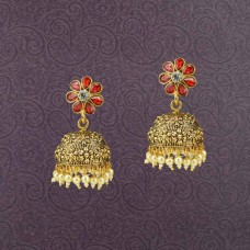 Gold Plated Stone Jhumki Earring With Red Stones