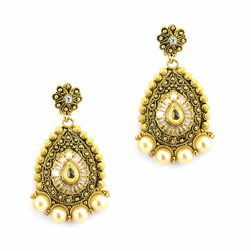 Designer Dangler Earrings With Multiple Stones And Pearls