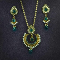 Gold Plated Green Stone Pearl Necklace Set For Women