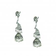 Designer Silver Plated Earring In Peacock Shape