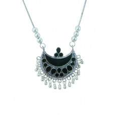 Designer Silver Plated Necklace In Black Color