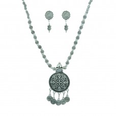 Designer Silver Plated Pendent Set For Women