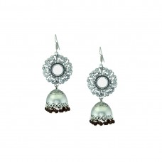 Oxidized Mirror Jhumkis With Black Pearls