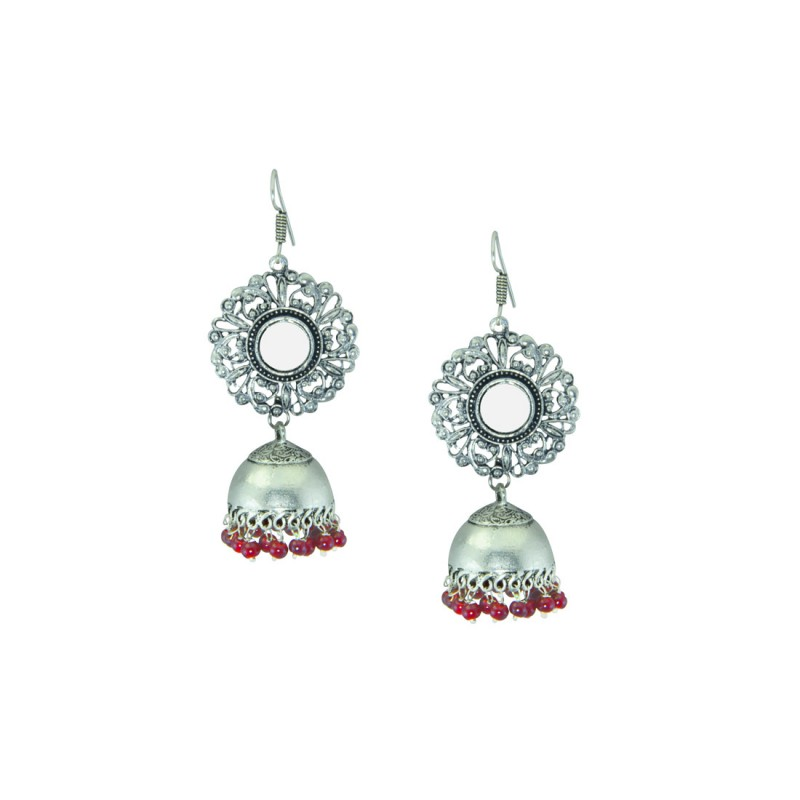 Oxidized Mirror Jhumkis With Red Pearl
