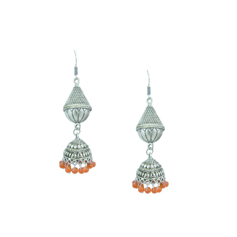 Silver Toned Oxidized Jhumkis Earrings In Orange Color
