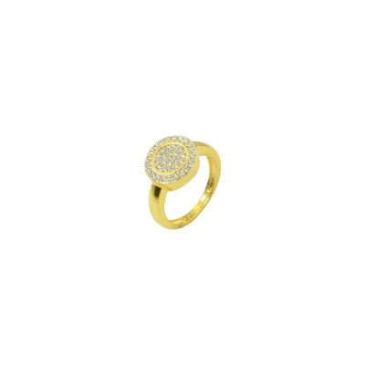 Gold plated AD Studded Ring In White Color