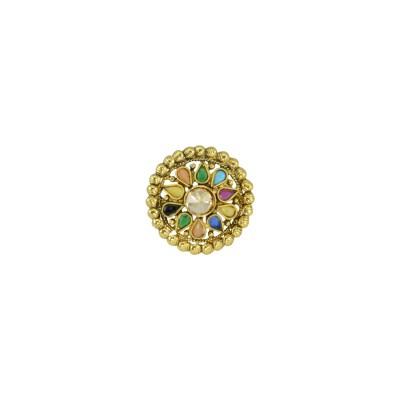 Gold Plated Multi Colored Adjustable Ring For Women