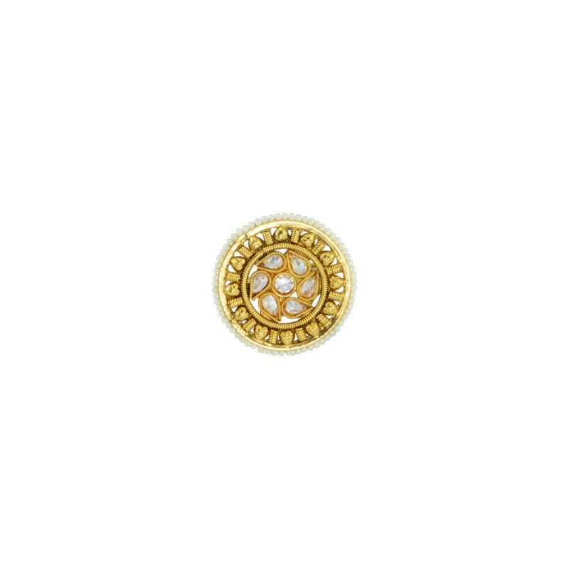 Gold Plated Ring With Multiple White Pearls