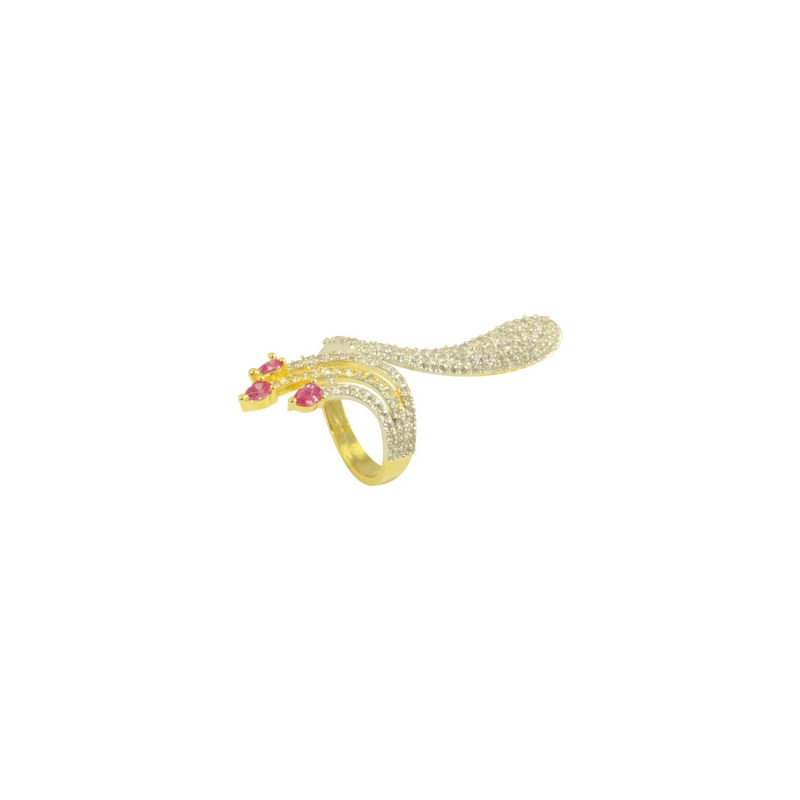 Gold Plated AD Studded Ring In Pink Color For Women