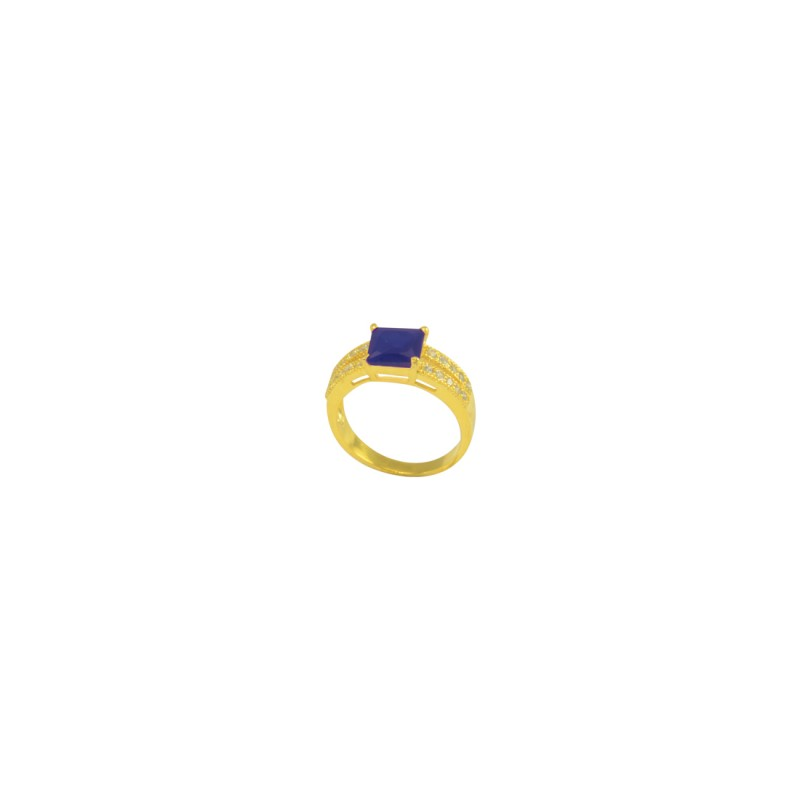 Gold Plated AD Studded Ring In Blue Color