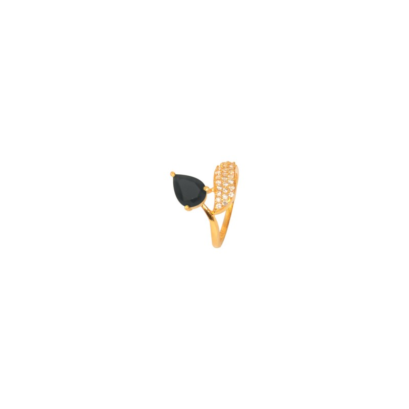 Gold Plated AD Studded Ring In Black Color
