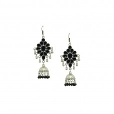 Oxidized Silver Plated Earring With Black Multipe Pearls