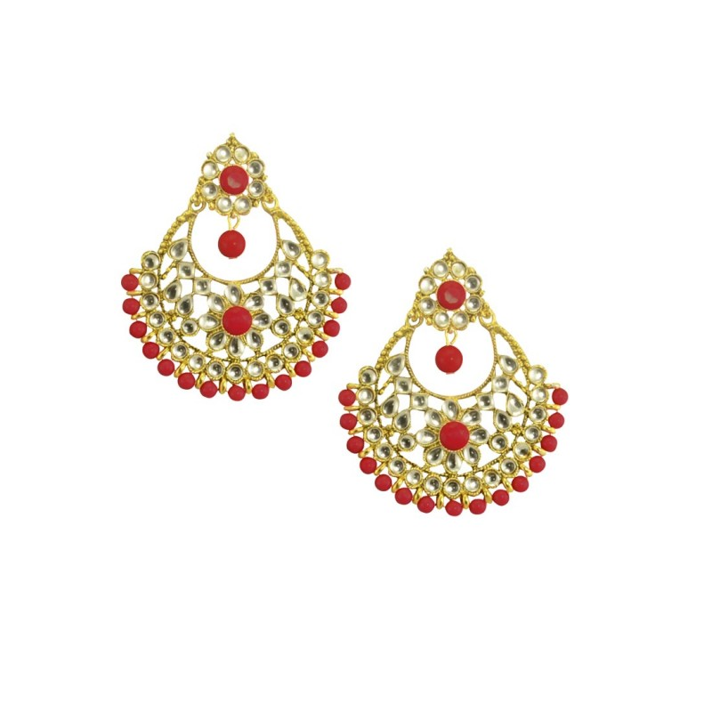 Designer Gold Plated  Chandbalis Earrings In Red Color