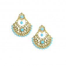 Designer Gold Plated Chandbalis Earrings In Sky Blue Color