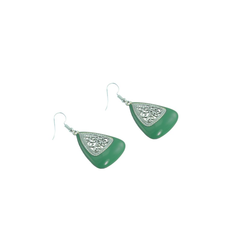 Silver Plated Dangler In Green Color