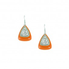 Silver Plated Dangler In Orange Color