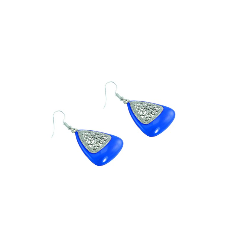 Silver Plated Dangler In Blue Color