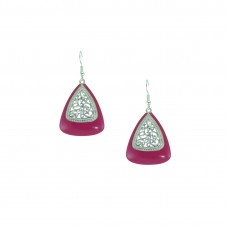 Silver Plated Dangler In Pink Color