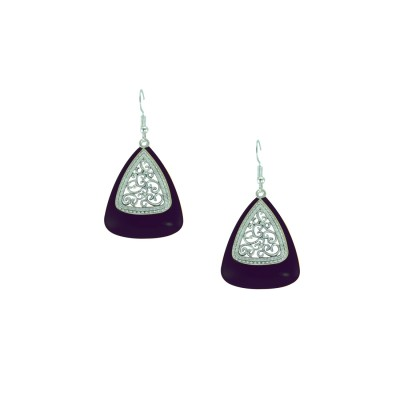 Silver Plated Dangler In Purple Color