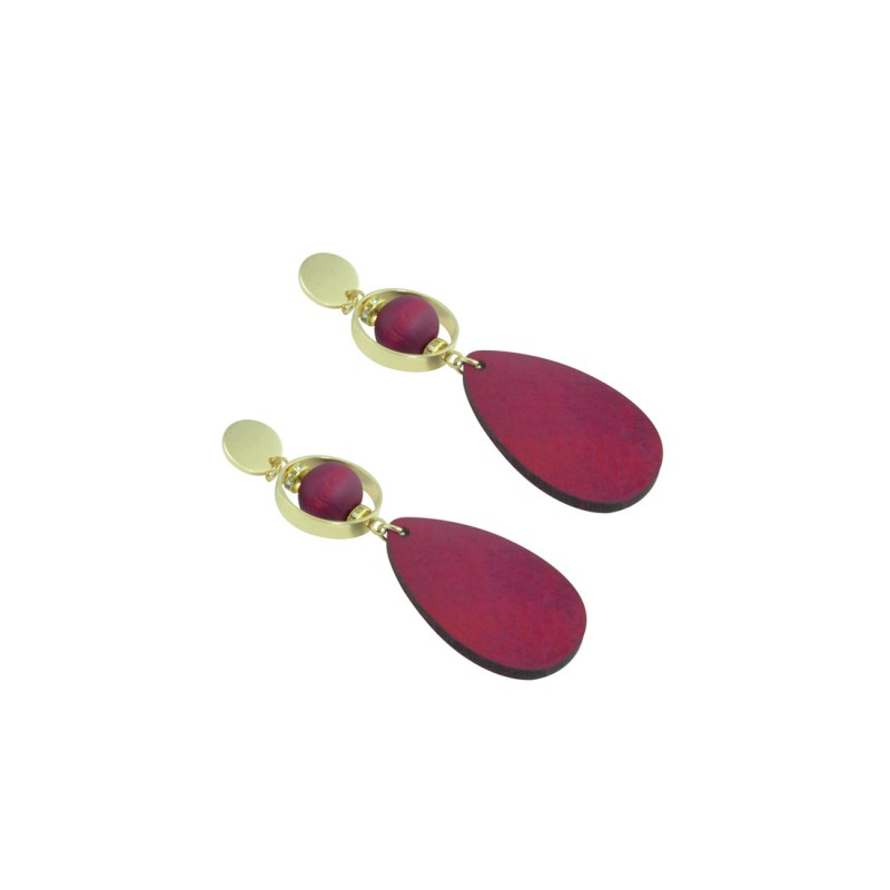 Wooden Designer Drop Dangler Earring In Pink Color