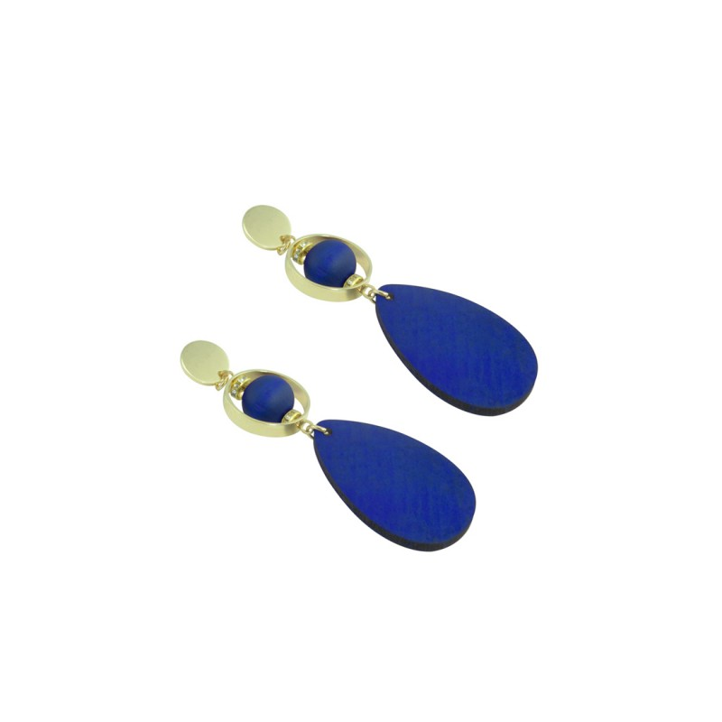 Wooden Designer Drop Dangler Earring In Blue Color