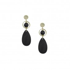 Wooden Designer Drop Dangler Earring In Black Color