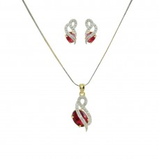 AD Studded Pendant Set In Red Color