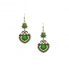 Designer Dangler  Earring In Green Color