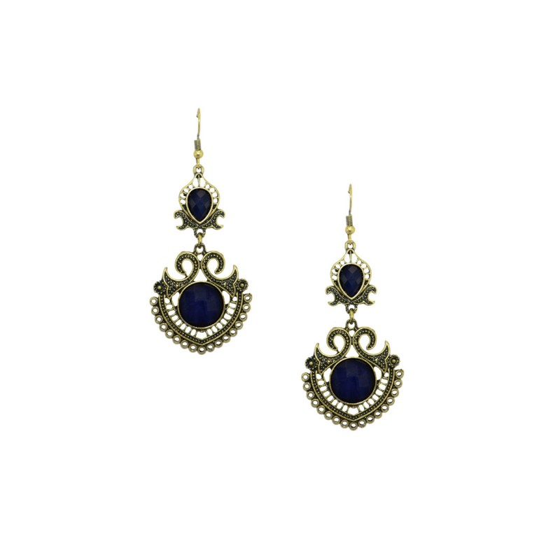 Designer Dangler Earring In Dark Purple Color