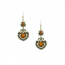 Designer Dangler Earring In Orange Color