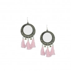 Oxidized Mirror Thread Dangler In Light Pink Color
