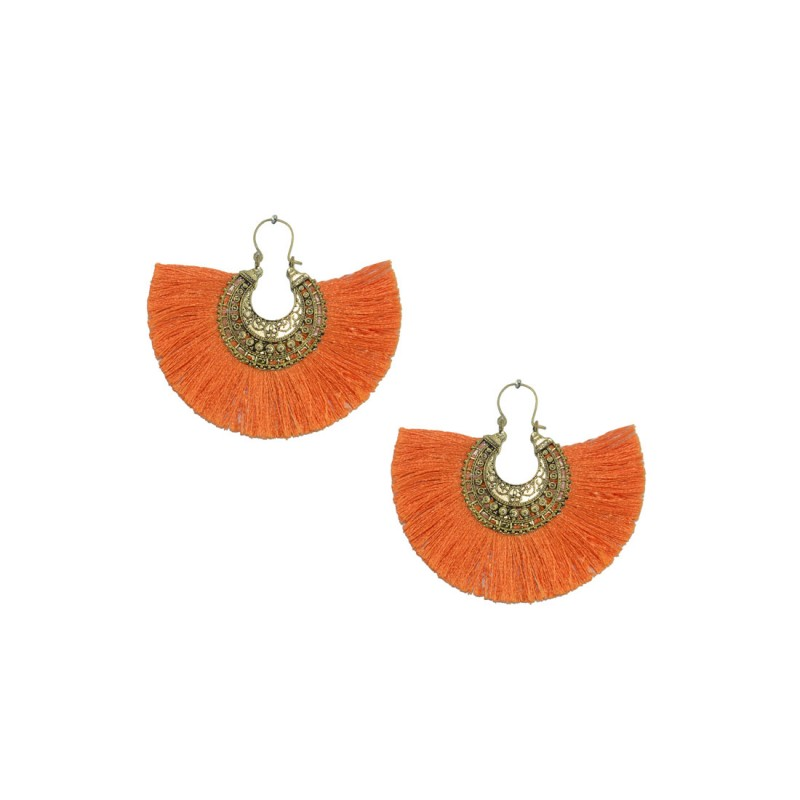 Designer Gold Plated Thread Dangler In Orange Color