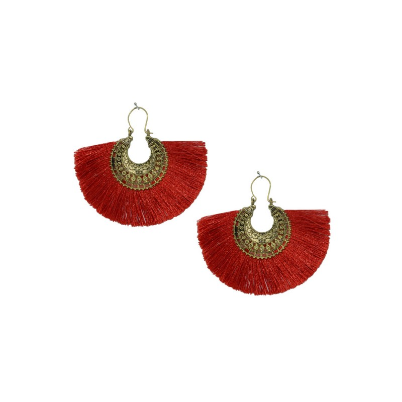 Designer Gold Plated Thread Dangler In Maroon Color