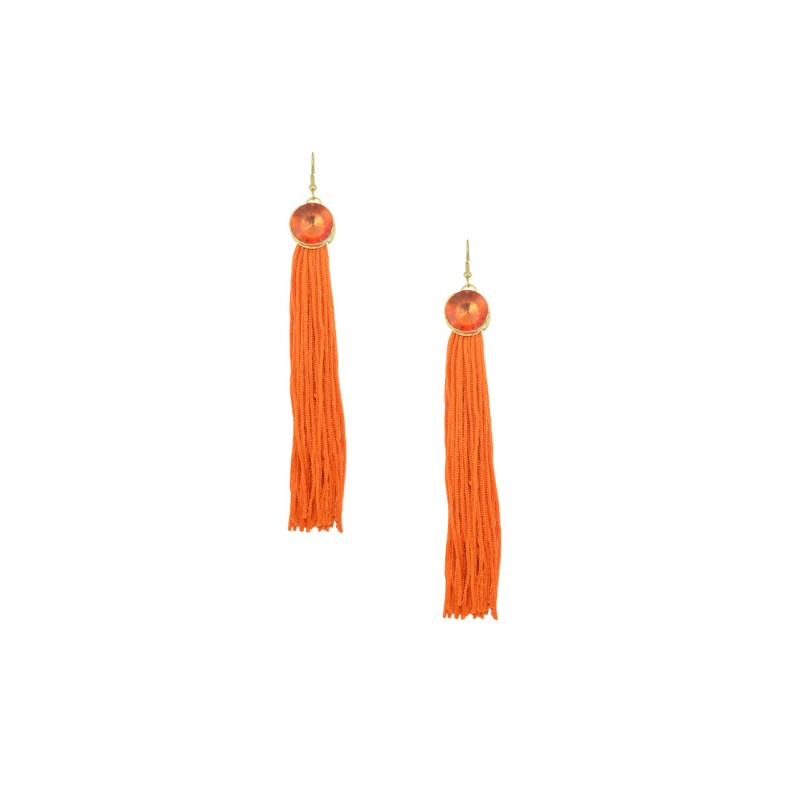 Designer Thread Danglers In Orange Color