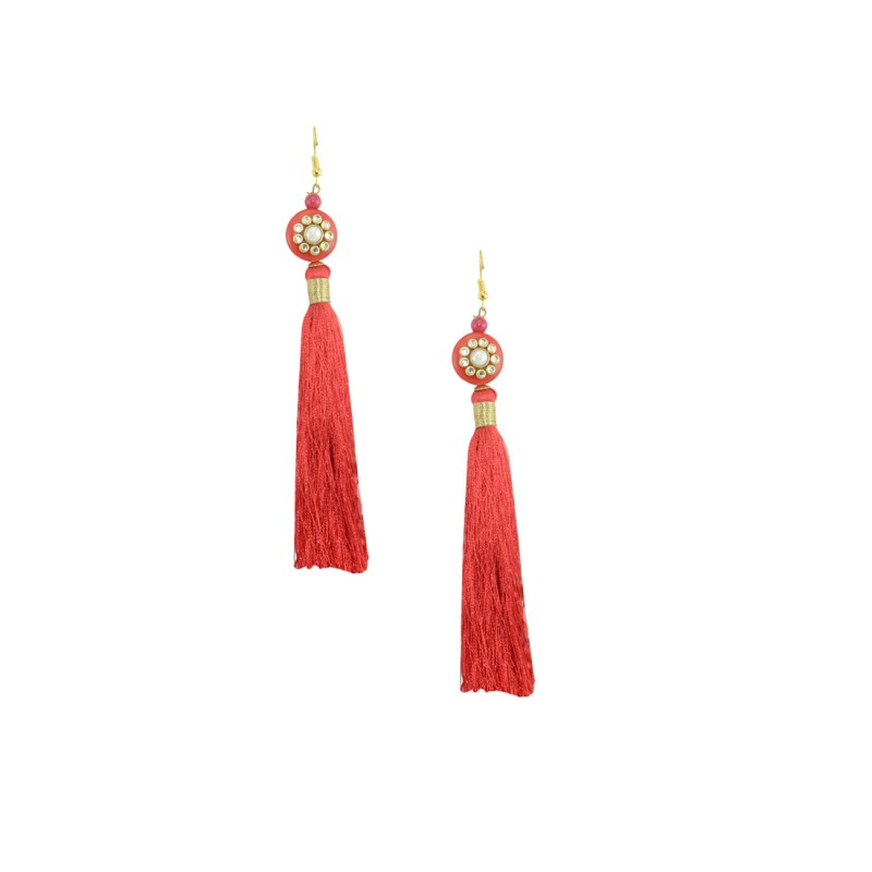 Stylish Thread Dangler In Red Color