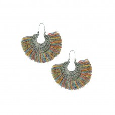 Designer Silver Plated Thread Dangler In Multicolor