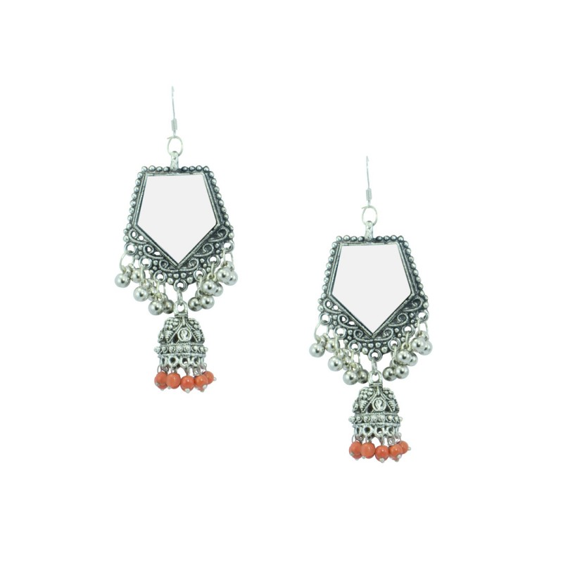 Silver Plated Designer Jhumki Earrings  In Orange Color