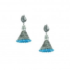 Silver Plated Designer Jhumki Earrings In Sky Blue Color