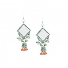 Oxidized Designer Jhumki Earrings In Orange Color