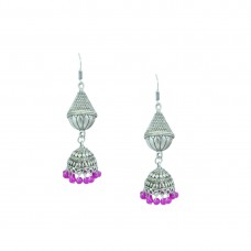 Silver Toned Oxidized  Jhumki Earrings In Pink Color