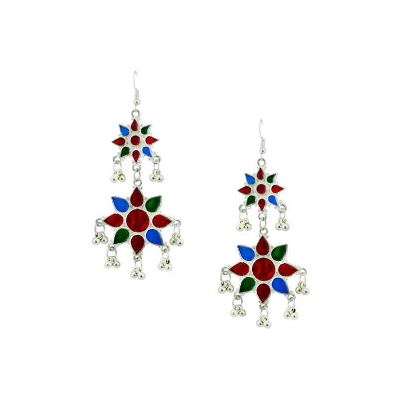 Silver Toned Oxidized Colorful Dangler Earring