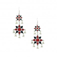 Silver Toned Oxidized  Dangler Earring In Multicolor