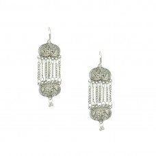 Designer Silver Plated Earring With Drop Chain