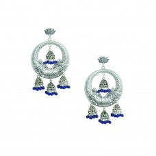 Silver Plated Multiple Jhumki In Blue Color