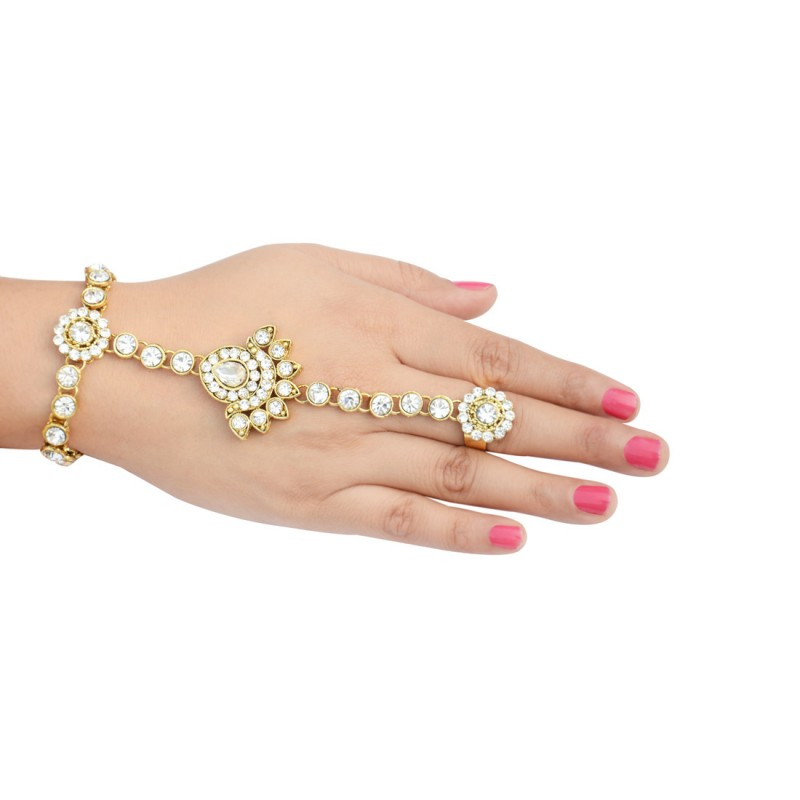 Ethnic Gold Plated Pair American Diamond Panja Hath Phool Bracelet