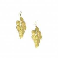 Gold Plated Designer Earrings In Leafs Shape