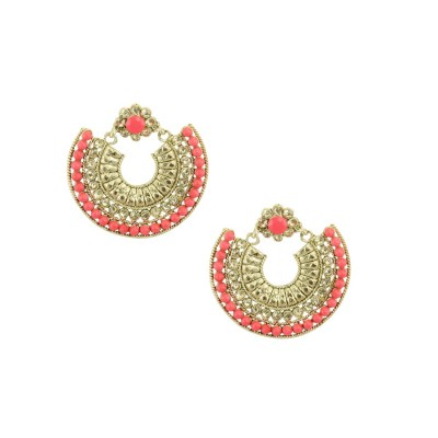 Gold Plated Designer Chandbalis Earrings In Peach Color
