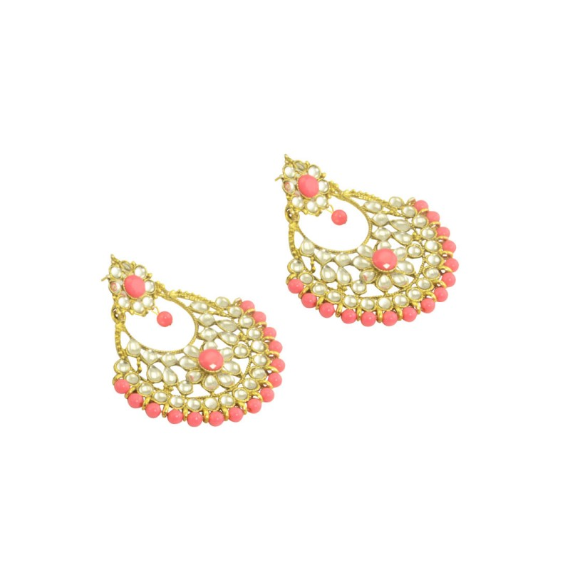 Designer Gold Plated Chandbalis Earrings In Peach Color